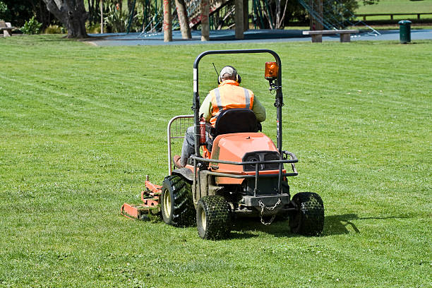 man on ride-on mower cutting grass - riding lawn mower stock photos and pictures