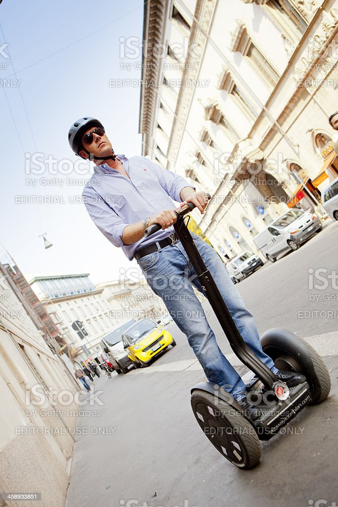 Man On Segway in Milan City Centre stock photo