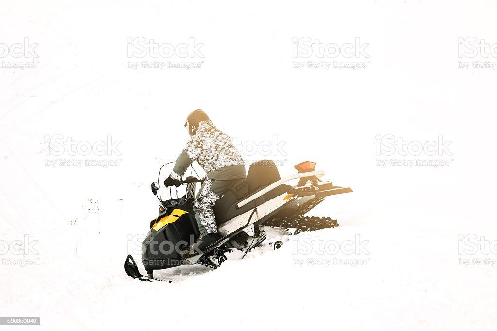 Man on snowmobile. Winter sports. royalty-free stock photo