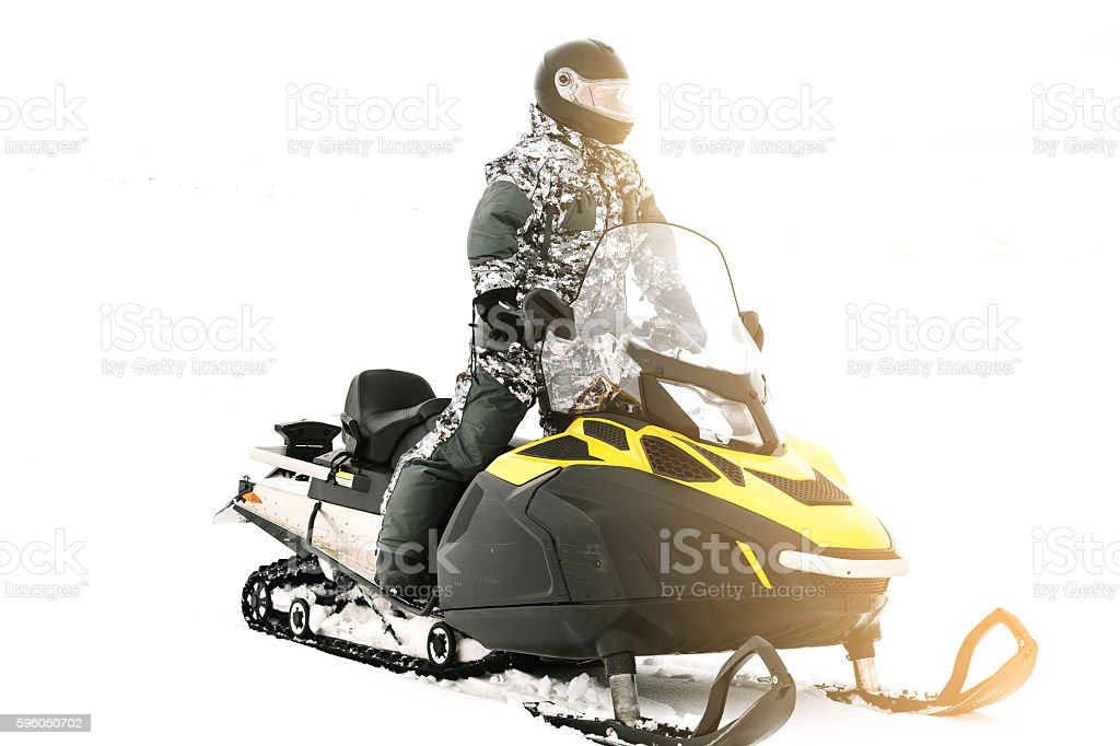 Man on snowmobile. Winter sports. royalty-free stock photo