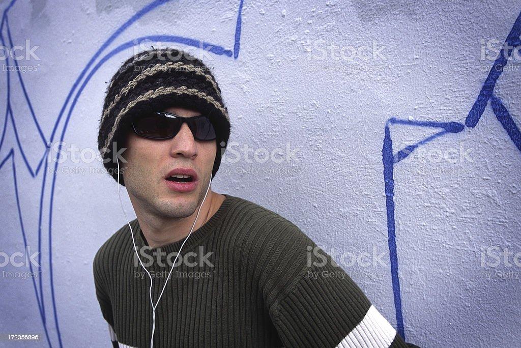 Man on Street Corner royalty-free stock photo