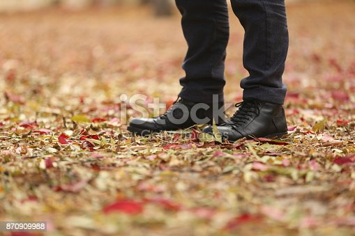 istock Man on street full of dead leaves during Autumn 870909988