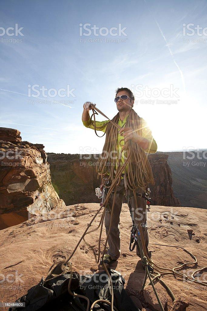 Man on summit stock photo