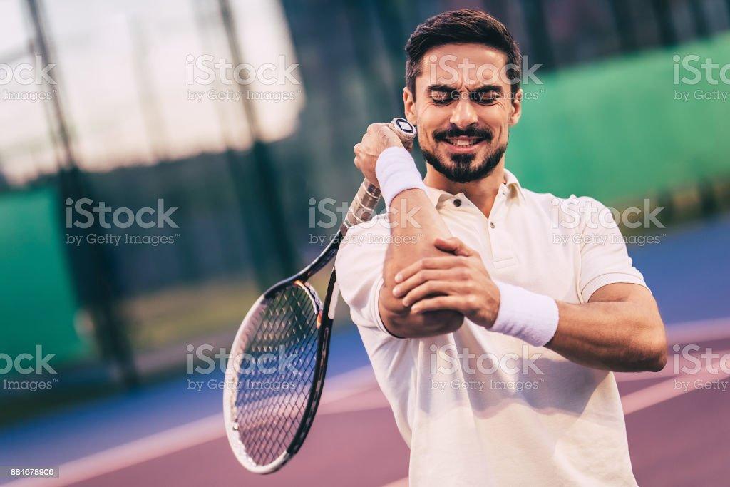 Man on tennis court. stock photo