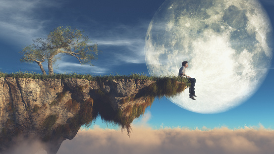 Man on the edge of a piece of land watching the moon. This is a 3d render illustration