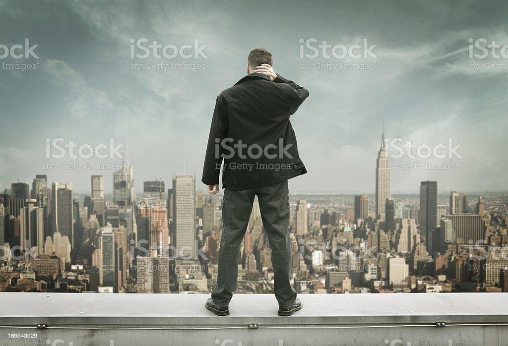 Man on the edge stock photo