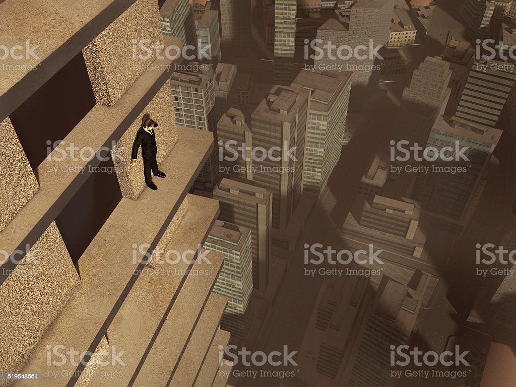 Man on the ledge of a skyscraper stock photo