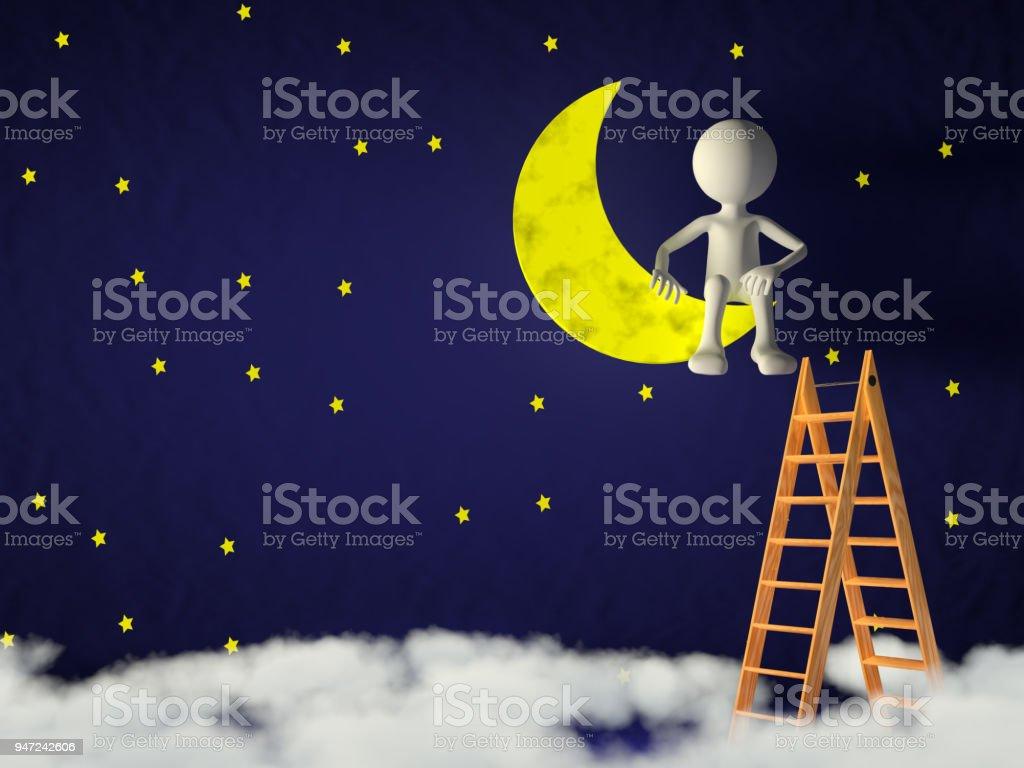 man on the moon stock photo