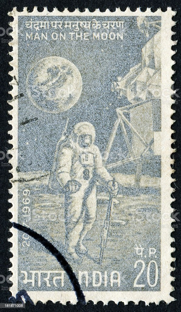 Man On The Moon Stamp stock photo