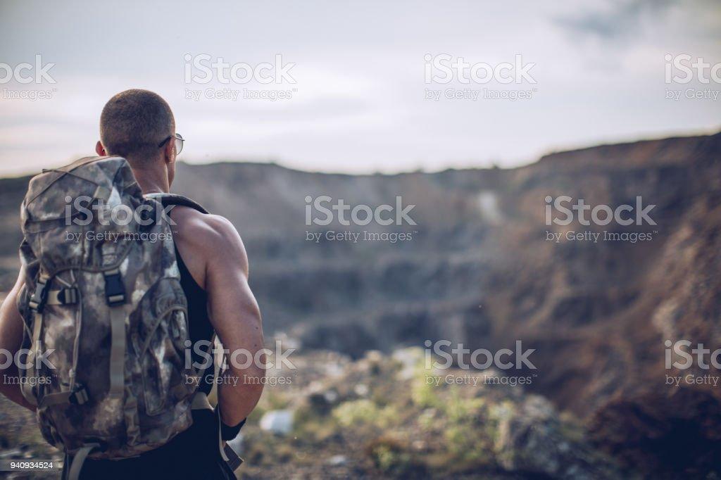 Man on the mountain stock photo