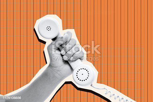 a cutout of the hand of a man holding the handset of a telephone, in black and white, on a orange background patterned with vertical lines, as a contemporary art collage