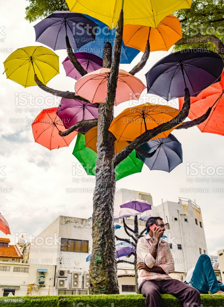 Man on the phone under tree with umbrellas Singapore stock photo