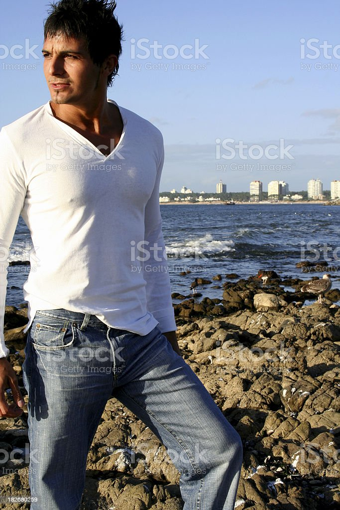 Man on the Rocks royalty-free stock photo