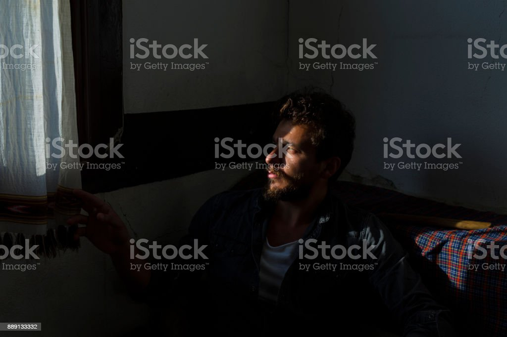 man on the shadow stock photo