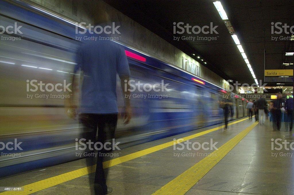 Man on the subway stock photo