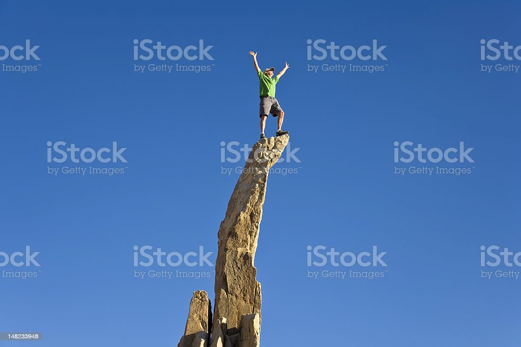 Man on the summit. royalty-free stock photo