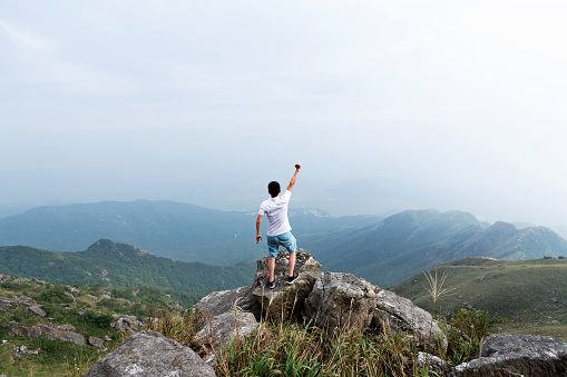 Man on the top of mountain