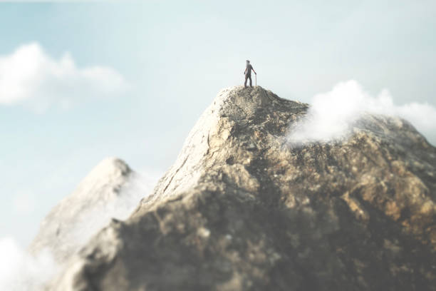 man on the top of the mountain enjoy the success stock photo