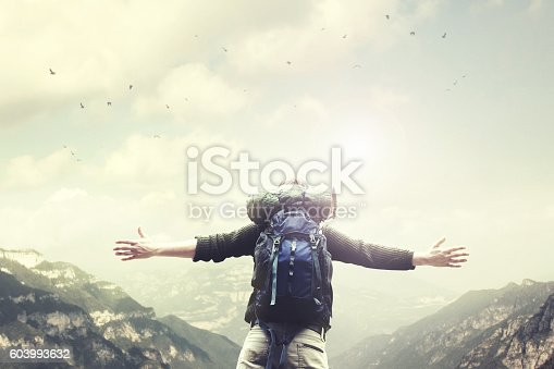 istock Man on the top of the mountain exulting at sunset 603993632