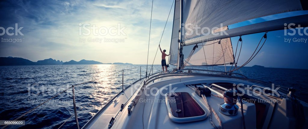 Man on the yacht stock photo