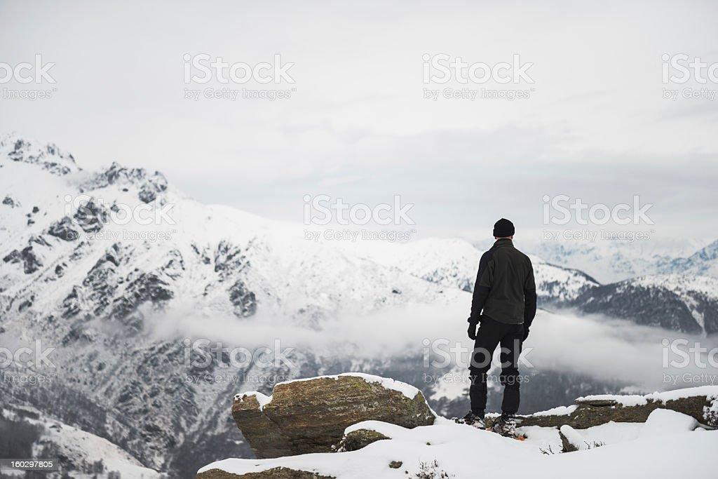 Man on Top Of Mountain royalty-free stock photo