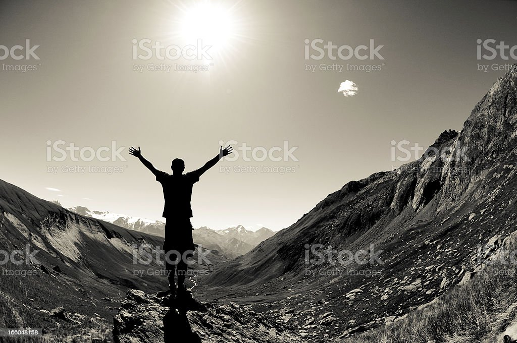 Man on Top of the Mountain royalty-free stock photo