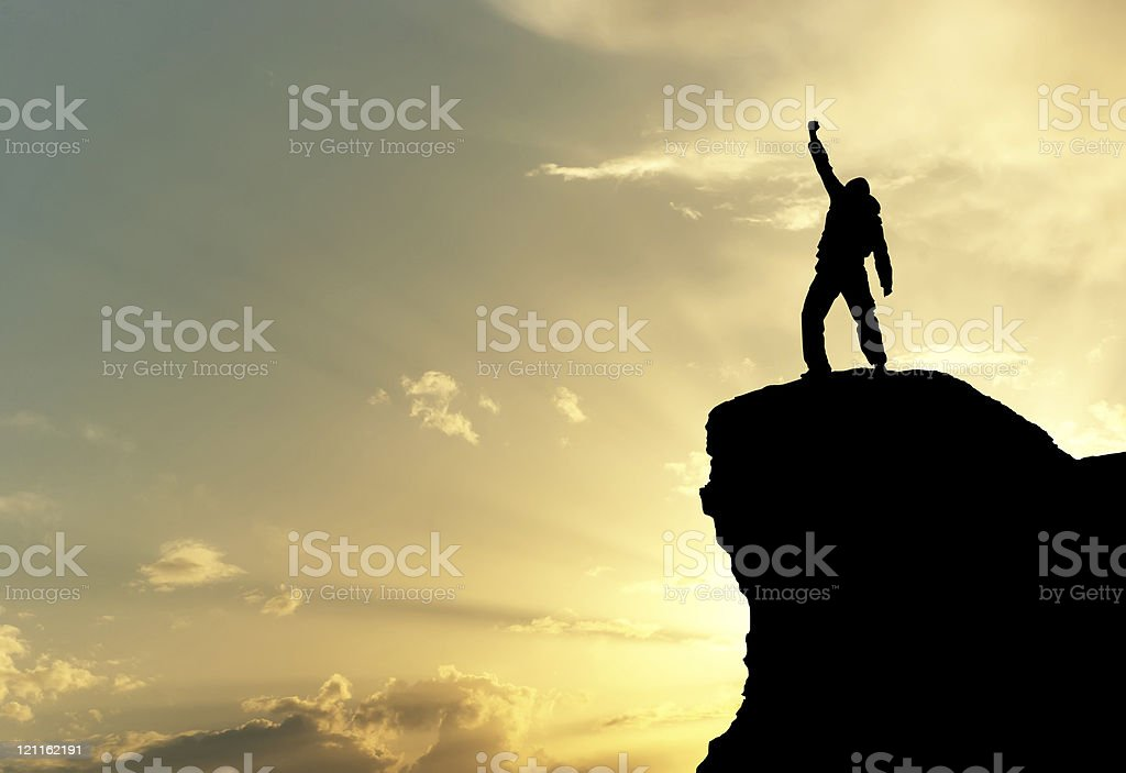 Man on top stock photo