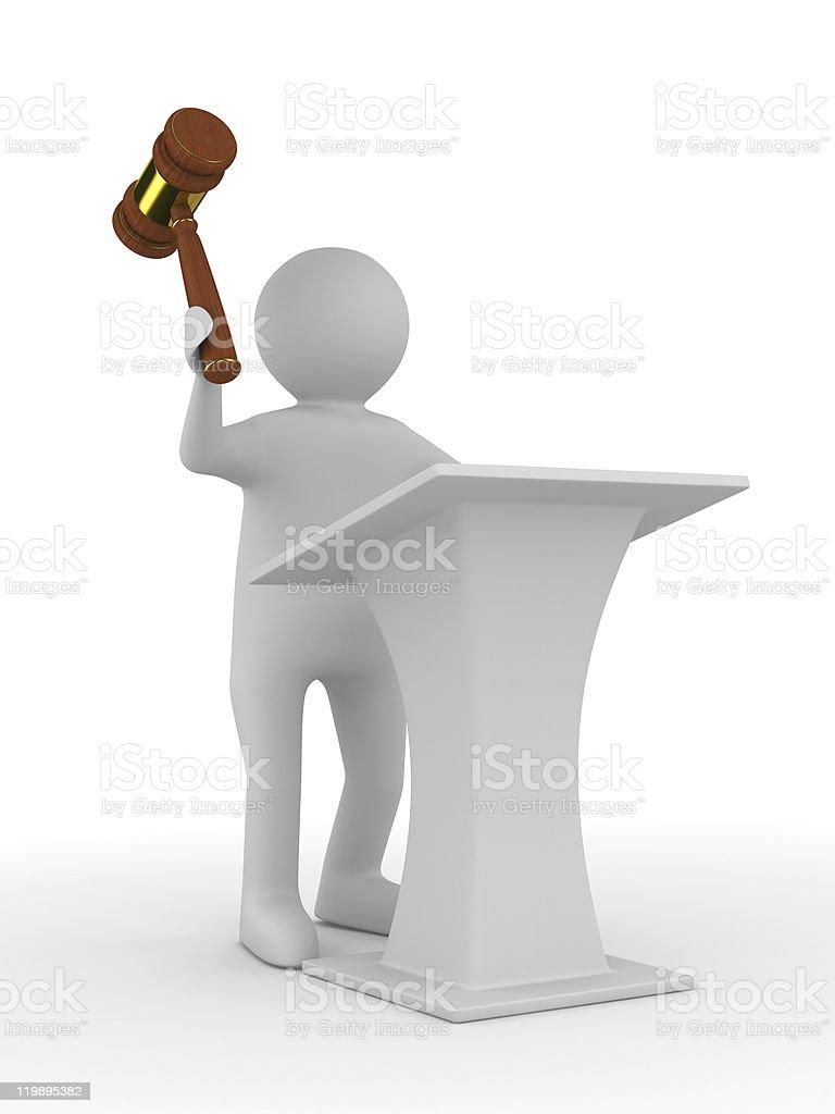 man on tribune. Isolated 3D image royalty-free stock photo