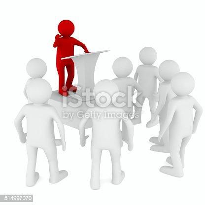 istock man on tribune. Isolated 3D image 514997070