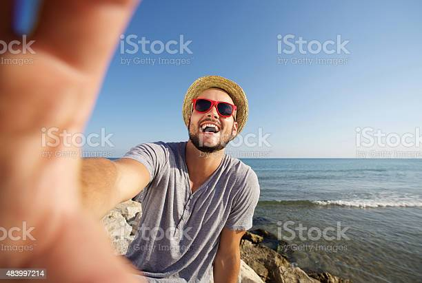 Man on vacation laughing at the beach taking selfie picture id483997214?b=1&k=6&m=483997214&s=612x612&h=ylglunrd5gljsqgtqd3zsshpgdhqcp10dxnicfrcrbo=