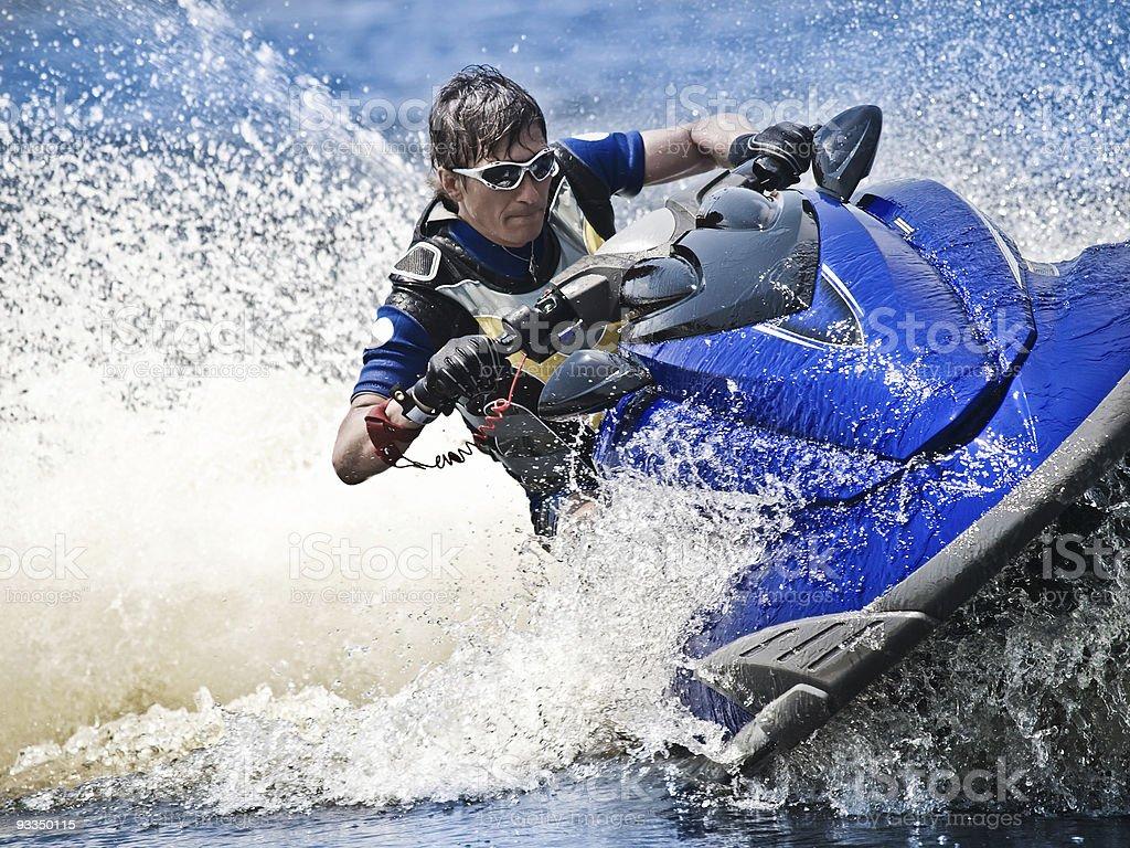 Man on Wave Runner stock photo