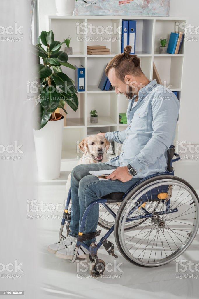 man on wheelchair petting his dog stock photo