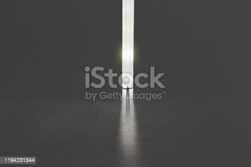 serie of images representing a business man in silhouette walking trough different shaped door in concrete wall