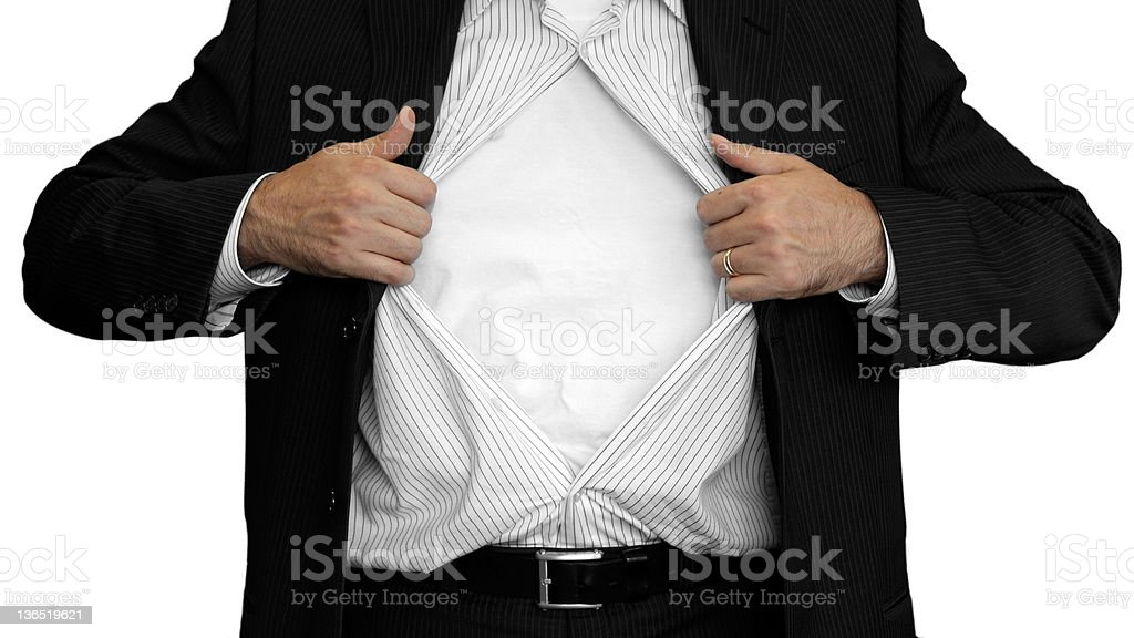 man opening up his shirt stock photo