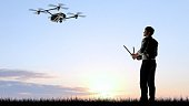 Man operating a drone quadrocopter at sunset using a controller