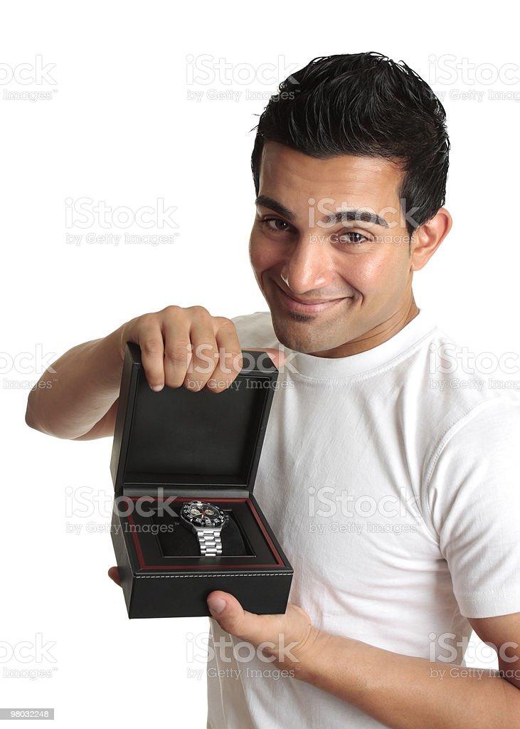 사람 또는 판매원 표시중 광고 a 손목시계 royalty-free 스톡 사진