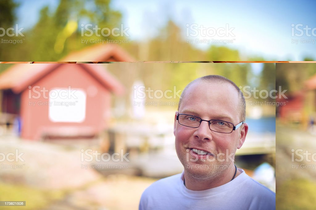 Man outdoors in the archipelago royalty-free stock photo