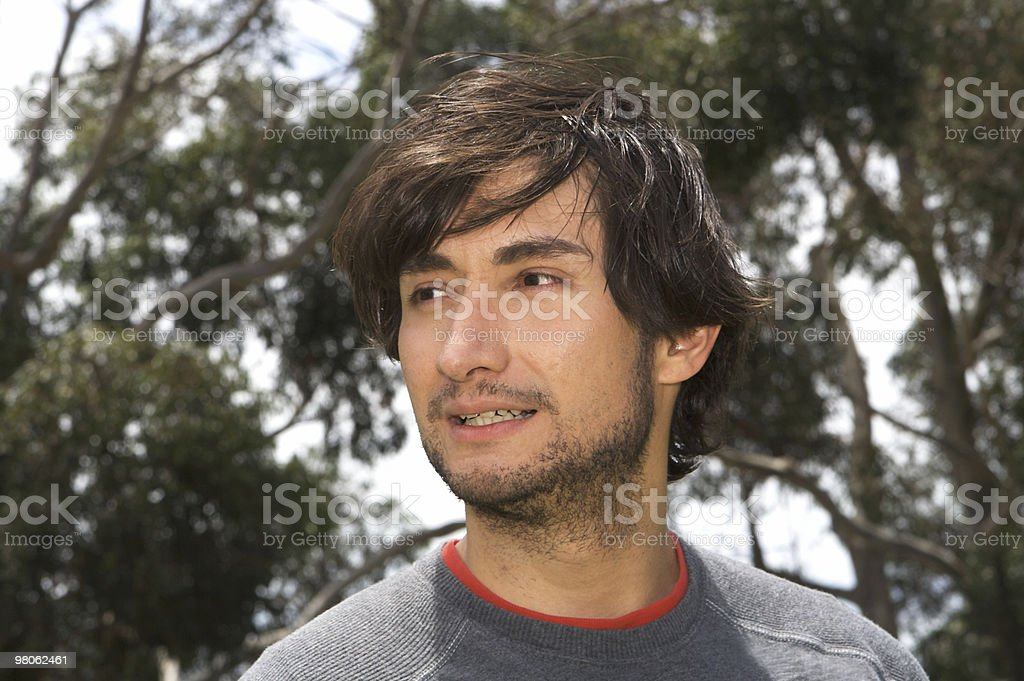 Man Outdoors Looking to the Side royalty-free stock photo