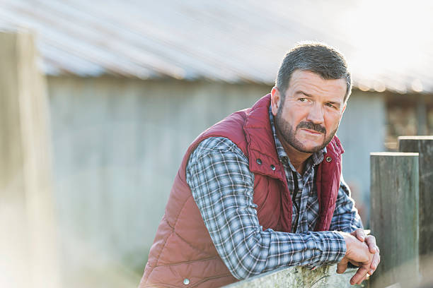 Man outside barn leaning on wooden fence A farmer or rancher, mature man in his 50s, standing outside a barn, with his arms leaning on a wooden fence. He is wearing a plaid shirt and warm vest. plaid shirt stock pictures, royalty-free photos & images