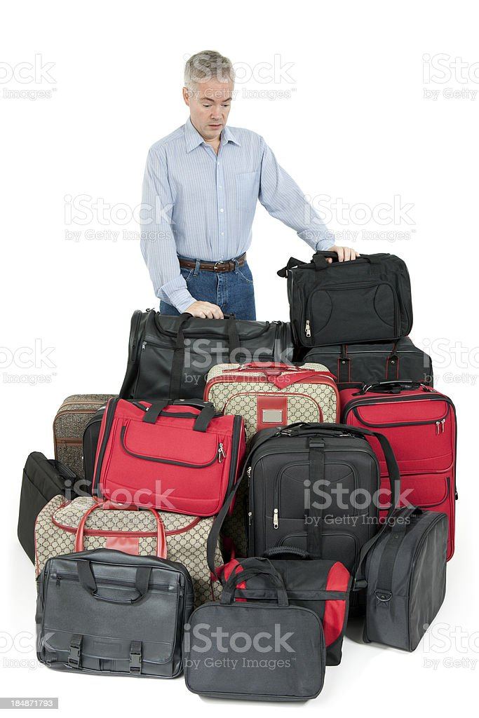 Man Overwhelmed With Luggage royalty-free stock photo