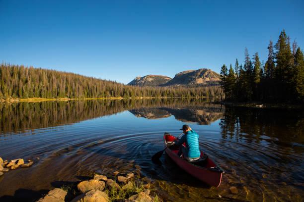 man paddelt eine rote kanu in einen see - boundary waters stock-fotos und bilder