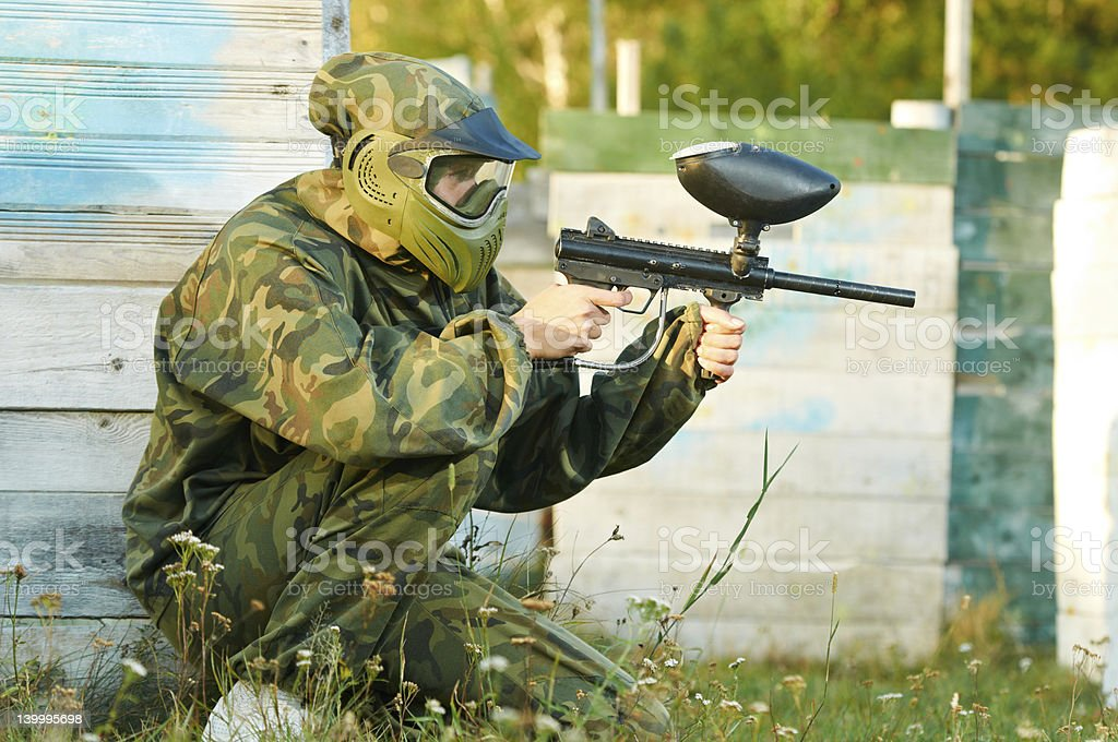 Man paintball player royalty-free stock photo