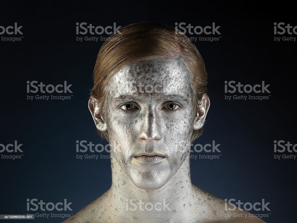 Man painted to imitate fish, portrait, close-up royalty-free stock photo