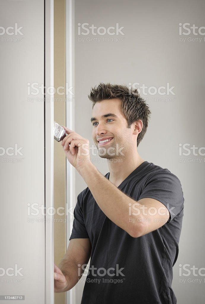 Man Painting during home renovations royalty-free stock photo