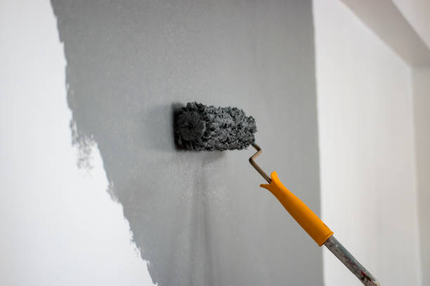 Man painting interior of home stock photo