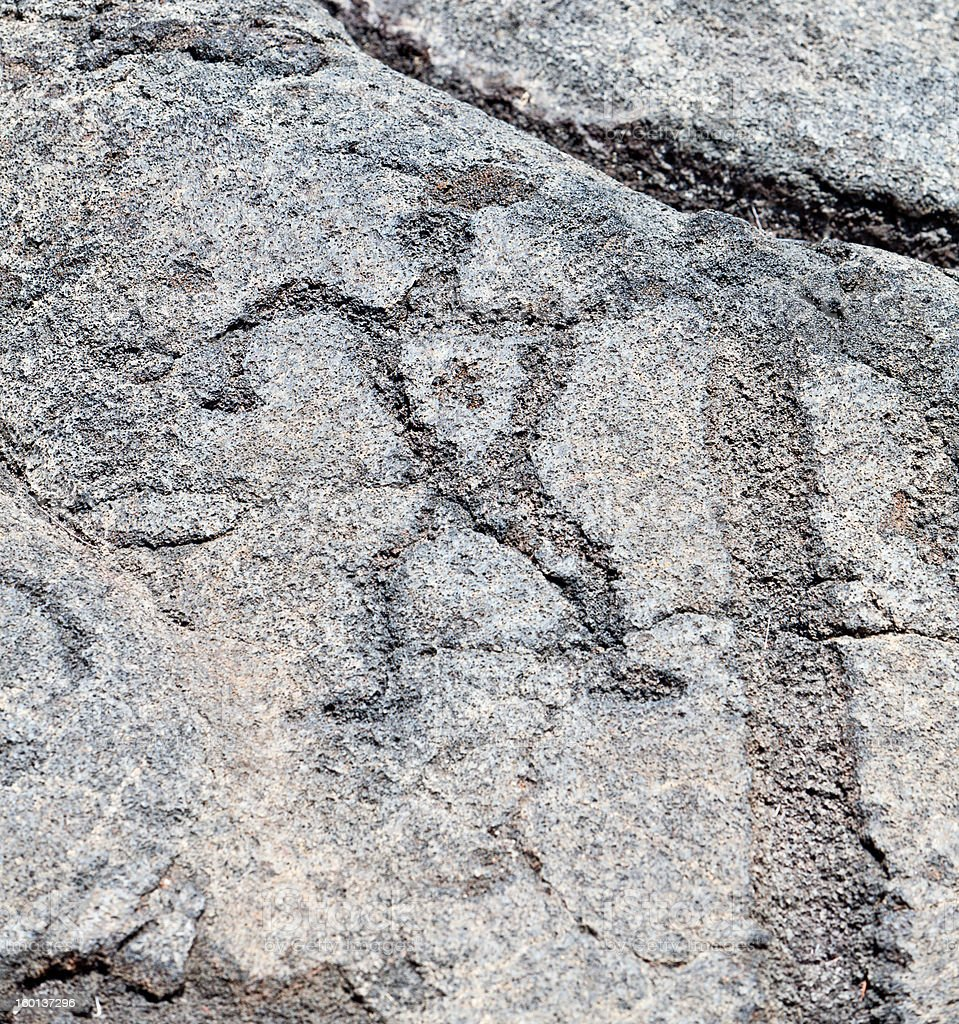 Man Palm Tree Petroglyph Pu`u Loa, Big Island, Hawaii royalty-free stock photo