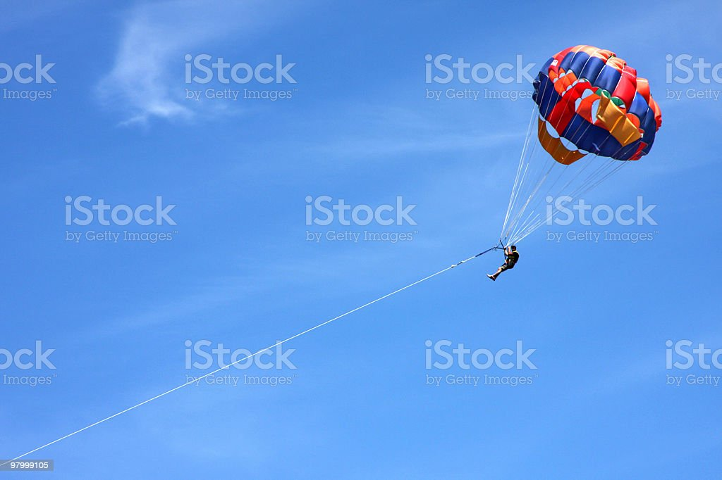 Man Parasailing in the sky royalty-free stock photo
