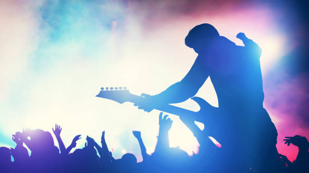 Man performing on music concert. Man performing on music concert. Cheering crowd, fans, entertainment. Music industry. 3D illustration. guitarist stock pictures, royalty-free photos & images