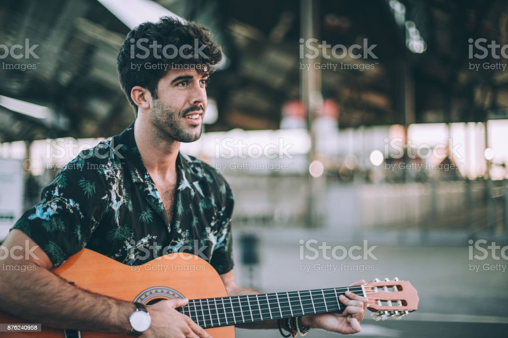 Man performing on the street stock photo