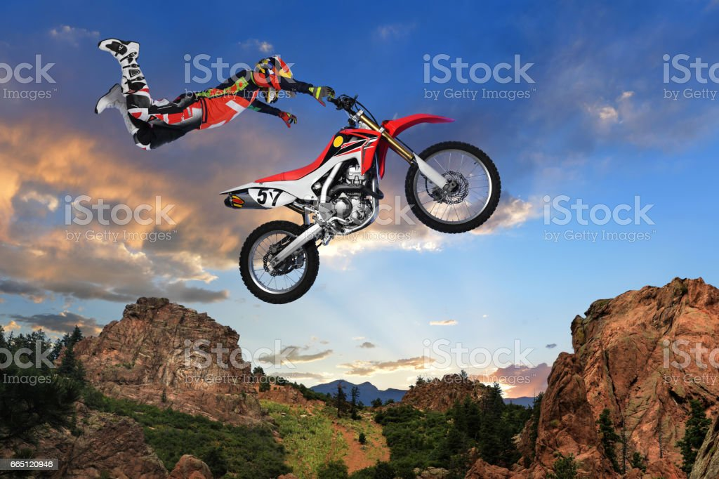 Man Performing stunt on Motorcycle stock photo